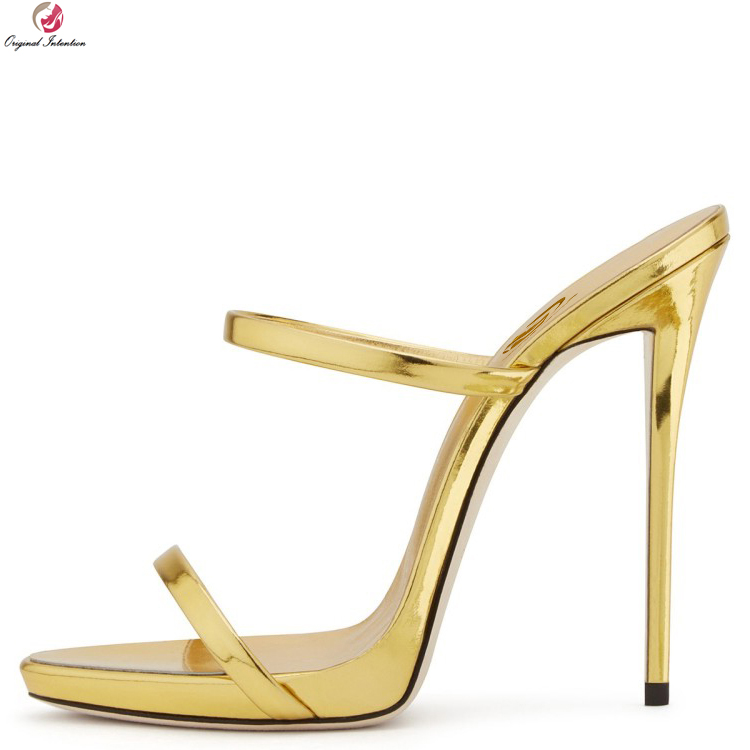 Original Intention New Women Sandals Open Toe Thin Heels Sandals Sexy Gold Silver Nude Champagne Shoes