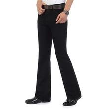 Mens Flared Jeans Boot Cut Leg Flared Wlastic Slim Fit Mid Waist Male Designer Classic Denim Jeans Pants Bell Bottom Jeans
