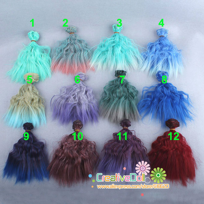 free shipping 15cm Doll wigs/ diy doll curly rainbow color hair for 1/3 1/4 1/6 BJD SD doll 1 8 bjd sd doll wigs for lati dolls 15cm high temperature wire long curly synthetic hair for dolls accessorries high quality wig