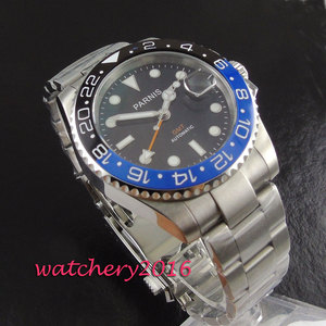 Image 2 - חדש 40mm Parnis שחור חיוג קרמיקה bezel ספיר זכוכית תאריך להתאים GMT אוטומטי תנועת גברים של עסקי שעון