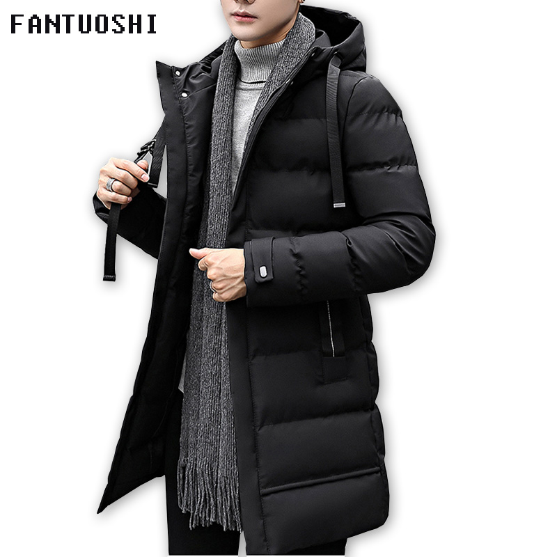 2018 Autumn Winter Men's Long Jacket Parkas Men Warm Casual Parka Coat Medium-Long WaterProof Thickening Hat Jacket Parka Men