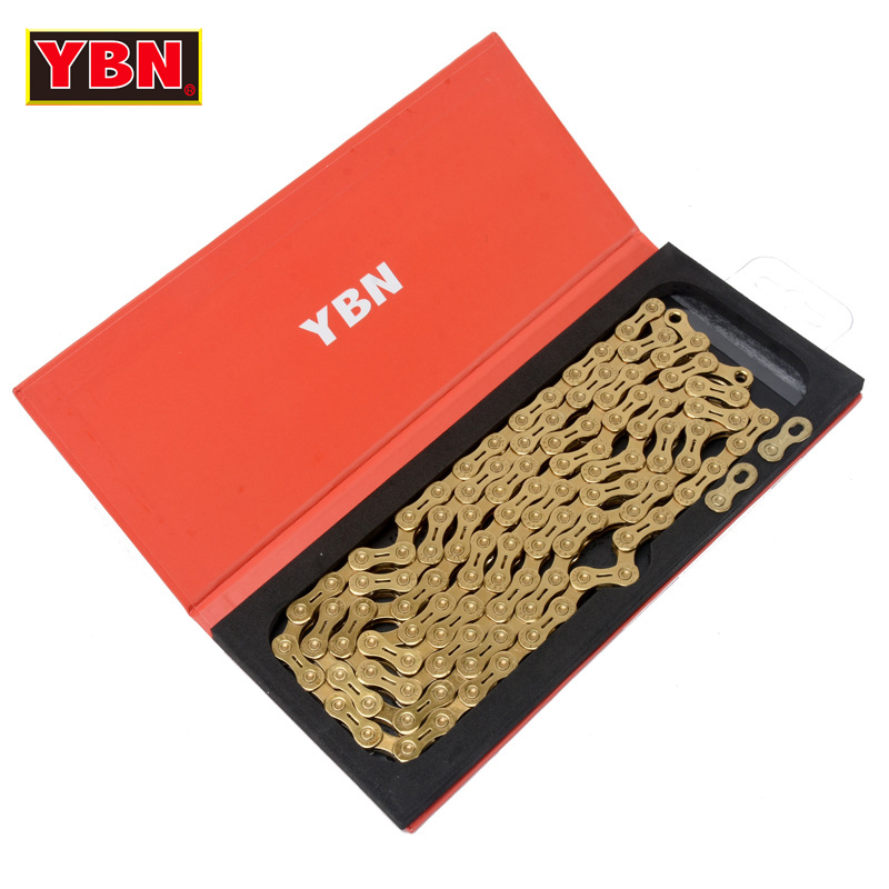 YBN chain GH10-TIG golden bicycle hollow 10 speed bike chain mountian road bike 10 variable ultralight 279g 116 links boxed ybn road mountain bike chain 10 speed 116 links mtb bicycle cycling chain gold golden chain for shimano sram system