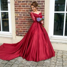 2019 Long Sleeves V Neck Prom Dresses A Line Backless Appliques Evening Party Gowns Arabic Dubai