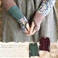 Japonés Mujeres de Primavera Dulce de Manga Larga Acolchado Cosido Fingerless Estiramiento Mano Color Lindo Kawaii Lolita Camisa Mori Chica D127