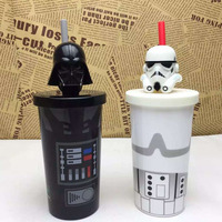 2017 New 2 Style New Film Black White Creative Star Wars Cup With Straw Milk Cup