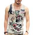 Stringer culturismo Tank Top Men Fitness Workout Chaleco Camiseta de Algodón Sin Mangas de Impresión retro Británico cráneo hombres Singlete
