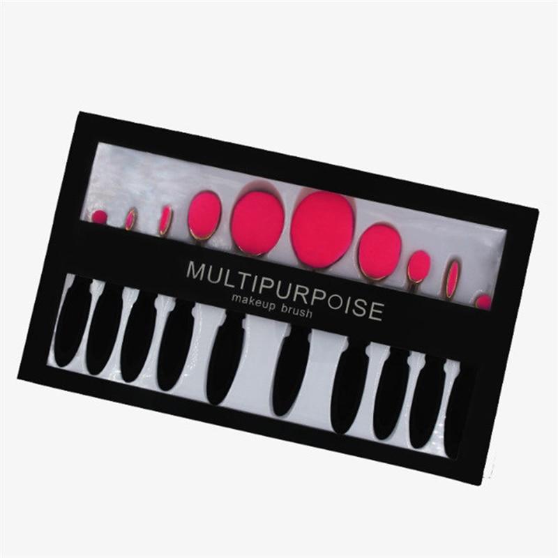 10Pcs Oval Toothbrush Makeup Brushes Set Pro Foundation Powder Blush Contour Brush Kits Eyeshadow Eyeliner Lips