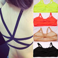 Women Cutout Back Cagged Bralet Busiter Corset Crop Top Padded Bra Black White