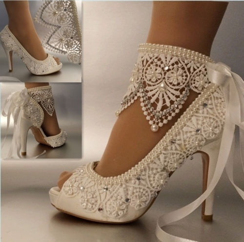 Women Shoes Pumps Wedding Shoes Satin Lace Pearl Bridal Shoes Waterproof High-Heeled Bow Knot Ankle Wristband Female 41 42 43