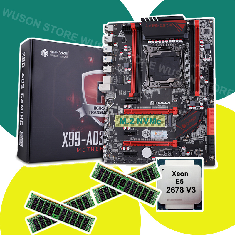 HUANANZHI X99 LGA2011-3 carte mère avec M.2 NVMe slot carte mère avec CPU Xeon E5 2678 V3 RAM 64G (4*16G) 1866 REG ECC