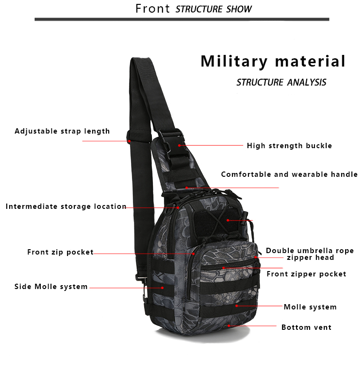 Tactical Chest bag Camouflage Hunting Shoulder Bag waterproof riding Pockets Military Nylon Camping Packpack Emergency Kits in Emergency Kits from Security Protection
