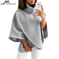 AVODOVAMA M Women New Casual Batwing Sleeve Solid Top Fashion Asymmetrical Turtleneck Blouse