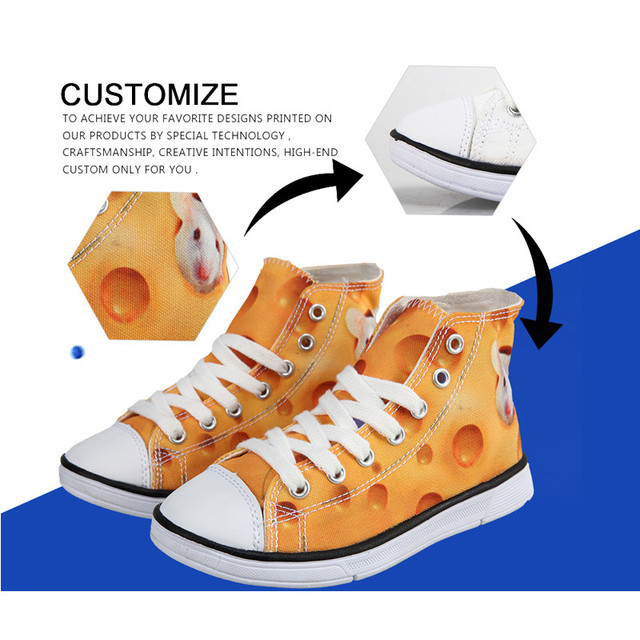 INSTANTARTS Customized Kids Children Sneakers Classic High Top Canvas Shoes Boys Girls Students Outdoor Boots Child Sports Shoes