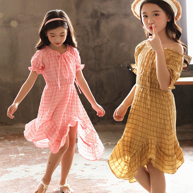 long mermaid toddler kids big girls dresses pink yellow off shoulder teenage princess kids beautiful dresses party clothing pink solid color off shoulder crop bodycon sweaters vests
