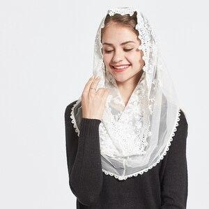 Image 4 - תחרה אינפיניטי צעיף נשים שנהב חתונת הכלה שושבינה רך קפלת רעלה מנטילת מסורתי קתולי חיג אב מוסלמי צעיף