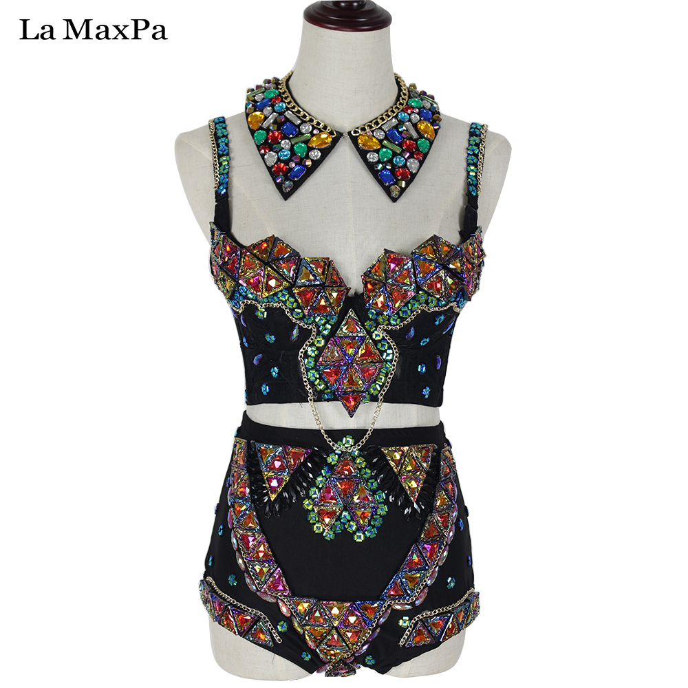 La MaxPa Sexy women stage costume female singer dj ds baroque chain patchwork performances clothes stage costume for singer