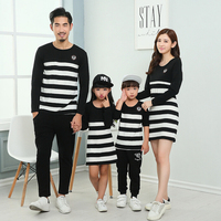2016 Family Set Striped Mother Daughter Dresses Father Son T Shirt Clothes Family Matching Parent Child