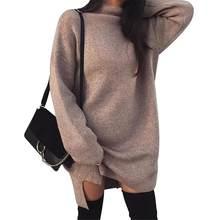 9a96f6a04d139f Oversize-Pullover Frauen Kleid Lange Warm Rollkragen Pullover Frauen Herbst  Winter Weibliche Gestrickte Pullover Pull
