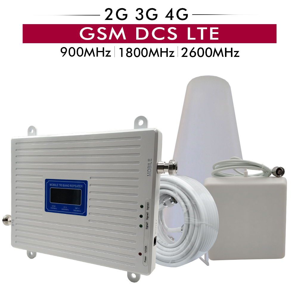 2G 3G 4G Triple Band Signal Booster GSM 900+DCS/LTE 1800+FDD LTE 2600 Mobile Phone Signal Repeater Cell Phone Cellular Amplifier2G 3G 4G Triple Band Signal Booster GSM 900+DCS/LTE 1800+FDD LTE 2600 Mobile Phone Signal Repeater Cell Phone Cellular Amplifier