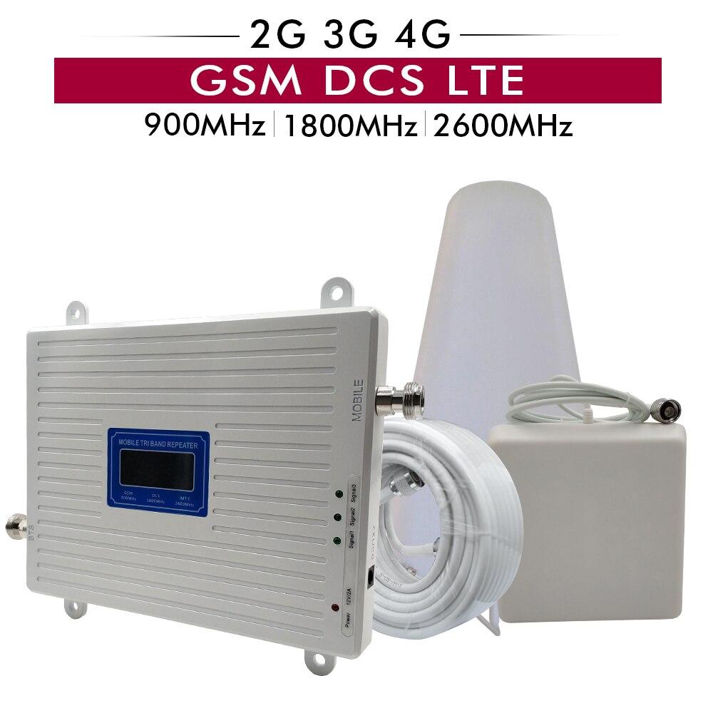 Amplificateur de Signal Triple bande 2G 3G 4G GSM 900 + DCS/LTE 1800 + FDD LTE 2600 répéteur de Signal de téléphone portable amplificateur cellulaire de téléphone portable