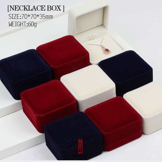 6pcsLot Black Red White and Blue Velvet pendant or necklace box the