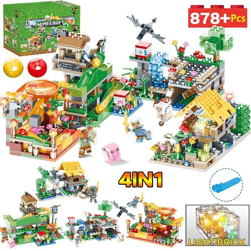 Nuevos bloques de construcción de juguetes Compatible LegoINGLYS Minecrafted 3D luz Castillo pueblo Series DIY guardia juguetes para niños