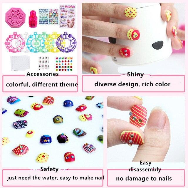 Girls Wear Makeup Nail Set Children Jewelry Hand make diy Manicure ...