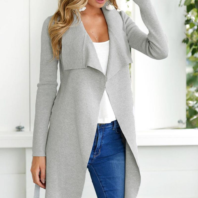 Office Women Coat irregular Hem turn-down collar   Trench   Peach full Sleeve solid Knee Length With Belts Front Wrap Work Wear 3164