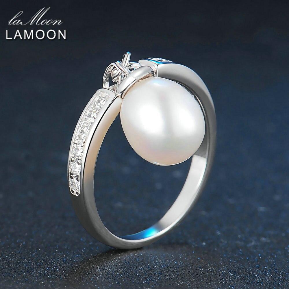 2017 New Trendy 8mm Oval Pearl Beads Rings 925 sterling-silver-jewelry Women Wedding Ring Joya Oerla Anillos