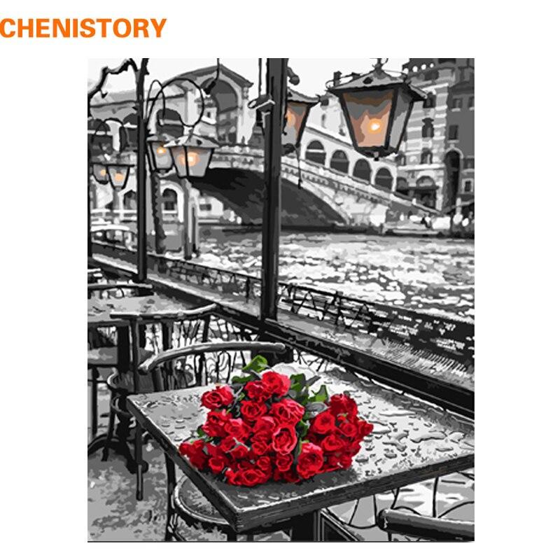 CHENISTORY 40x50 cm Rose Peinture DIY Par Les Kits de Nombres Acrylique Photo Peint À La Main Peinture À L'huile Sur Toile Pour mur Art Photo