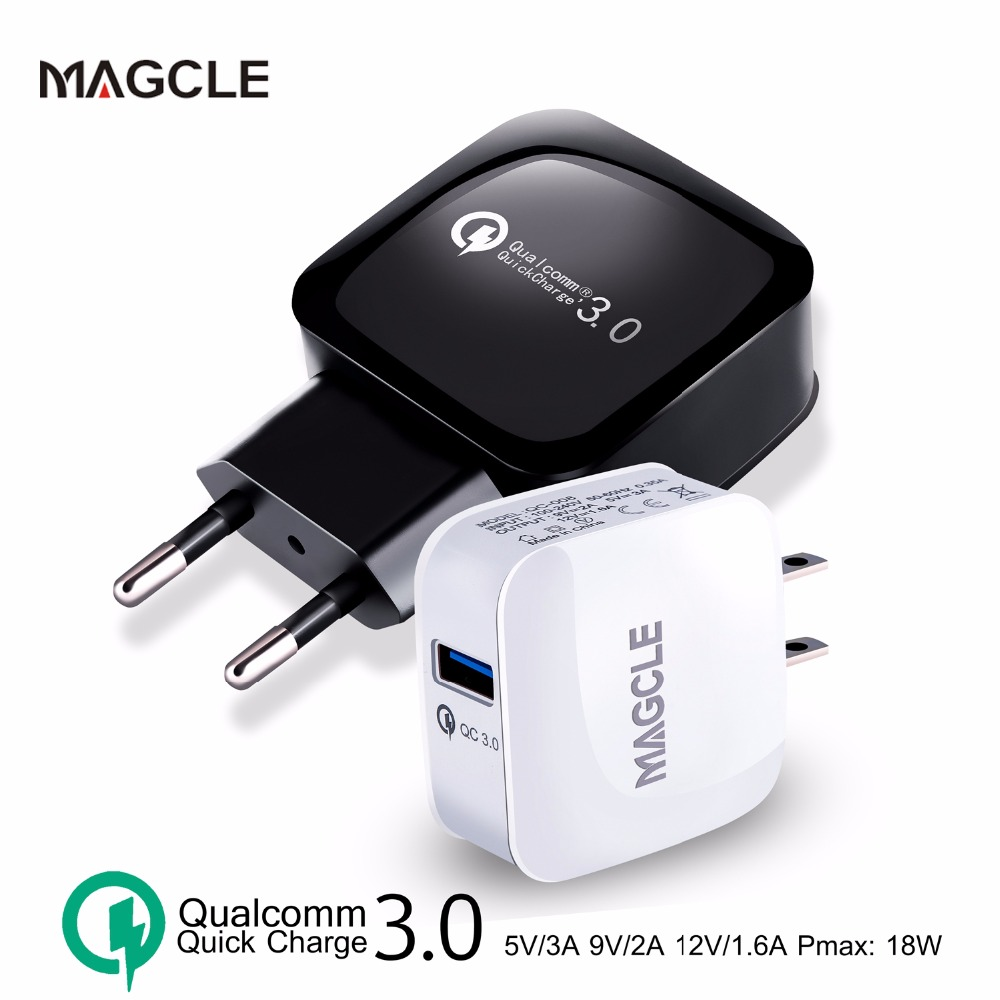 Magcle QC3.0 charger wall charger EU US fast charger 18W Fast USB Charger for Samsung Xiaomi 5 Huawei LG drop shipping