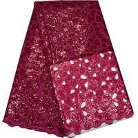5yards Pc Latest Design Hand Cut African Organza Lace Fabric Fushia Color Nigerian Sequins Lace
