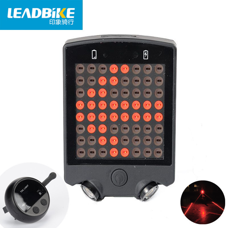 Leadbike 2017 64 LED Laser Bicycle Rear <font><b>Tail</b></font> Light USB Rechargeable With Wireless Remote Bike Turn Signals Safety Warning Light