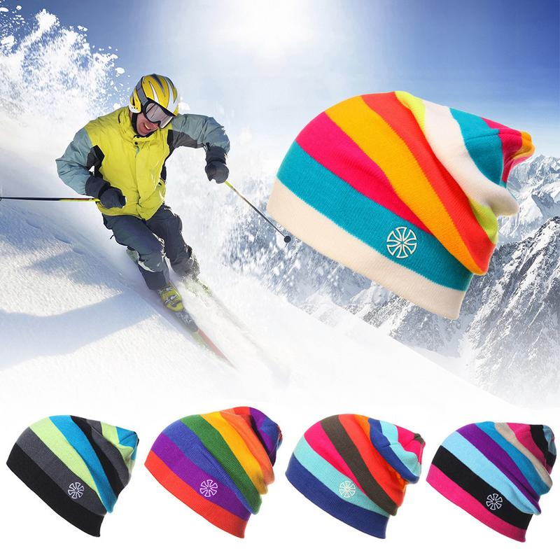 Rainbow Color Winter Warm Knitted Hats Caps   Beanie   Fashion   Skullies     Beanies   Bonnet Cap For Outdoor Sport Ski Men Women Male Hat