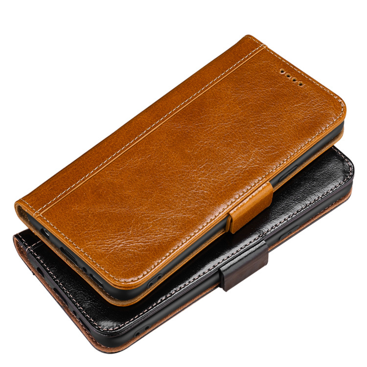 Leather classic oil wax wallet holder mobile phone case for iphone X 6S 6 PLUS 7