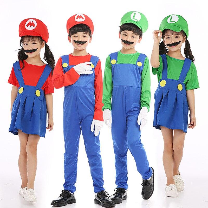 Children Super Mario Bros Cosplay Costume Plumber Fancy Dress Mario Luigi Kids Halloween Party costumes