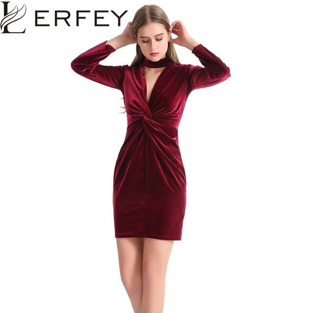 60591853445 Vestido de terciopelo Retro para mujer, de manga larga, Bodycon, rojo,  profundo