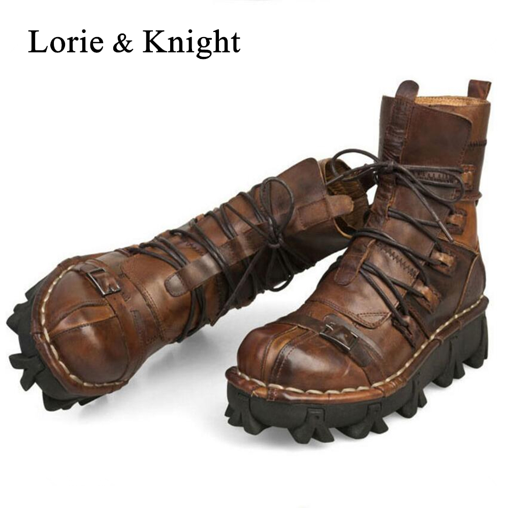 Men s Lace up Cowhide Genuine Leather Work Boots Military Uniform Boots Motorcycle Martin Boots Combat