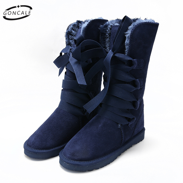 2017 High Quality Band Snow Boots women's winter Boot Women Fashion Genuine Leather Australia Classic Women's High Boot Winter