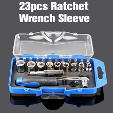 23pcs Sleeve Screwdriver Set Ratchet Wrench Sleeve Spanner Drill Combination Kits For Car Bike Rapid Repair Tool  household tool ratcheting wrench set nut drill sleeve ratchet screwdriver 34 pcs of composite plastic packages