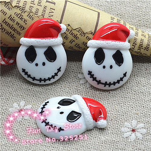 jack skellington in santa hat the nightmare before christmas flat back cabochon crafts 2229mm 50pcslot in figurines miniatures from home garden on - Nightmare Before Christmas Santa Hat