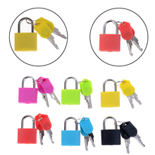 New 6 colors Small Mini Strong Steel Padlock Travel Tiny Suitcase Lock with 2 Keys
