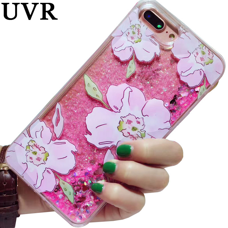 UVR 3D Rose Pink Flower Glitter Love Heart Dynamic Quicksand Case Coque Cover for iPhone 6 6s 7 Plus 7Plus Sparkle Pretty Cover