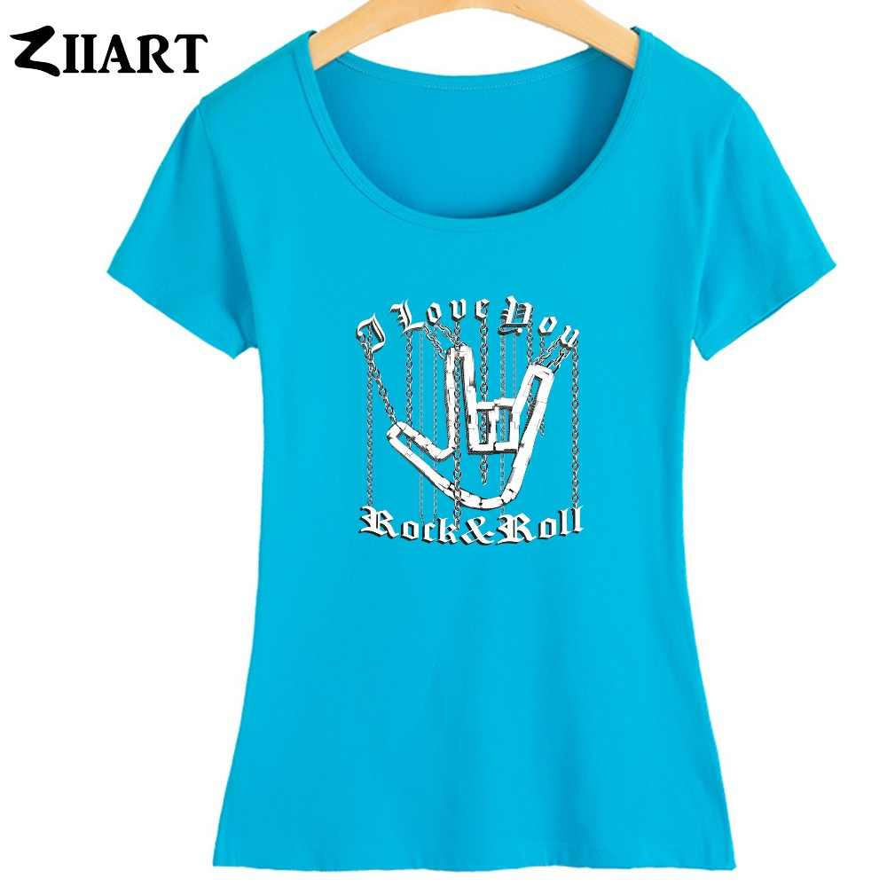 Seni Seviyorum El Hareketi Zinciri Ağır Metal Kaya Işareti Rock N Roll Hip Hop Kız Kadın Yaz Kısa kollu T-shirt ZIIART
