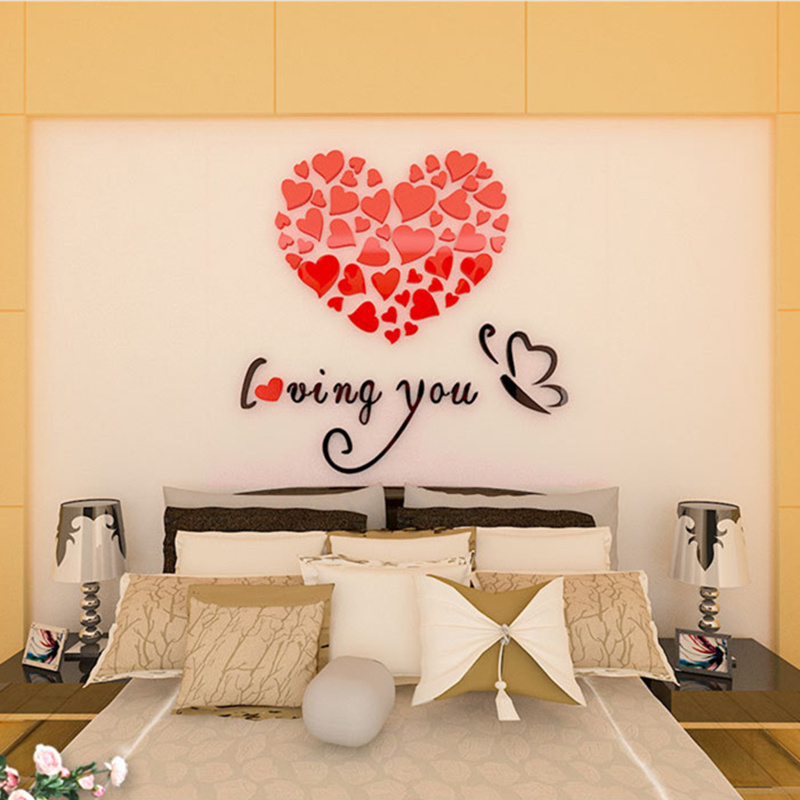 5 Size Colorful Love Heart 3d Acrylic Decoration Wall