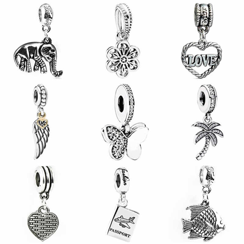 Vintage Tree Wing Butterfly Hamsa Hand Crystal Heart Beads Fit Original Pandora Charms Bracelets Women Handmade Jewelry Bijoux