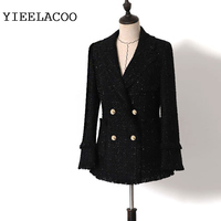 Jacket women's tweed 2019 spring / autumn / winter women's jacket new ladies black shining tassels rough tweed suit jacket