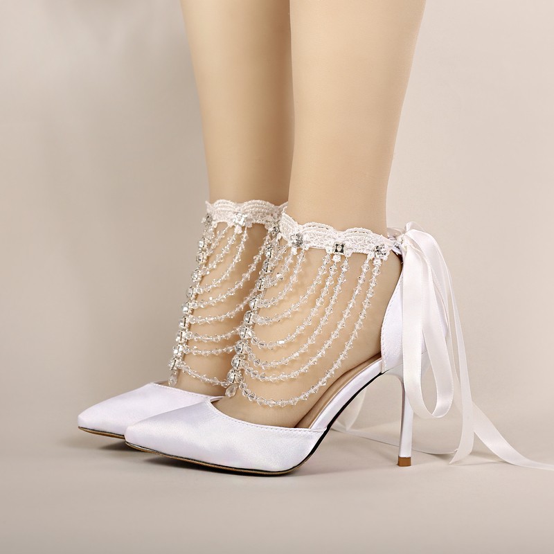 2016 white summer silks and satins ultra high heels bridal shoes pointed toe thin crystal heels