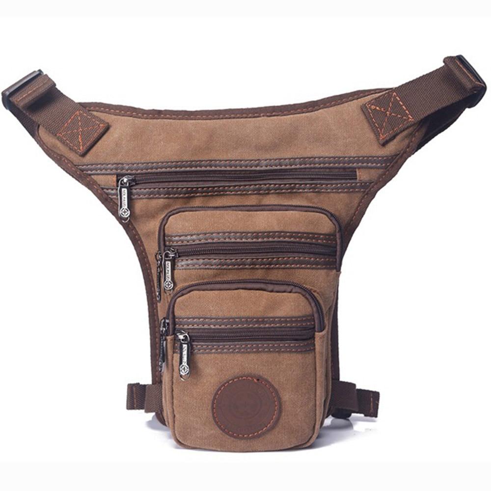 High Quality Men Canvas Drop Leg Fanny Bag Travel Motorcycle Riding Hip Bum Messenger Shoulder Belt Waist Pack Bag Purse Pouch