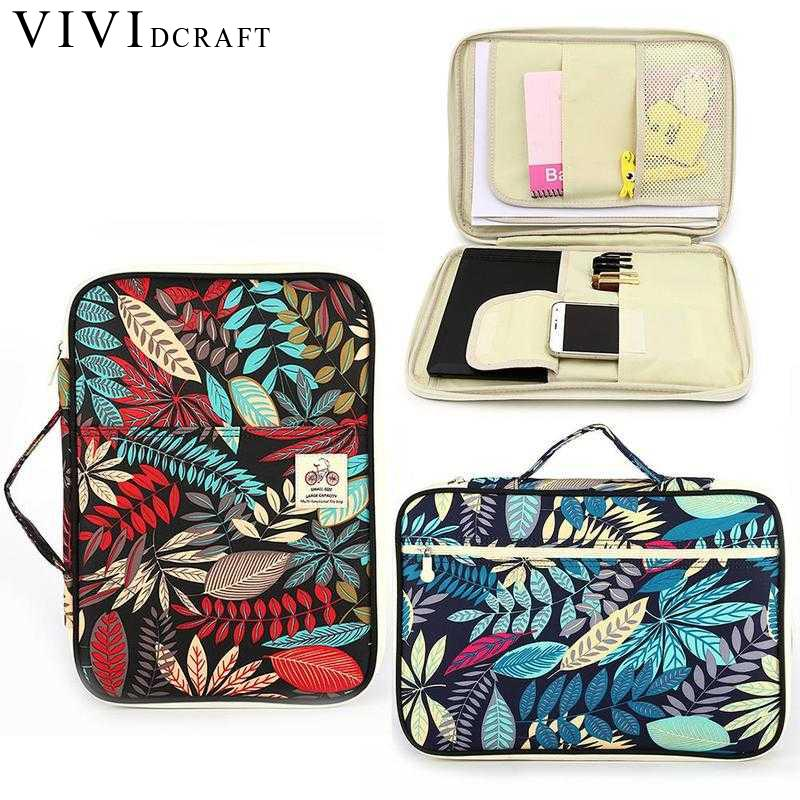 Vividcraft Flower Print Functional File Folder Document Bags Leaf Waterproof Storage Bag for Notebooks Pens iPad Computer Bag waterproof oxford a4 file folder document bag business briefcase storage bag for notebooks pens ipad bag student gift